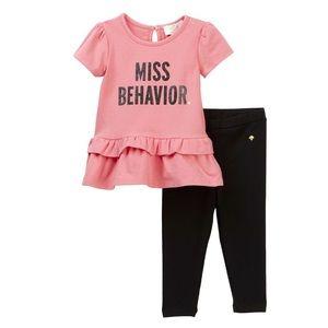🆕 Kate Spade Baby Miss Behavior Tunic Legging Set